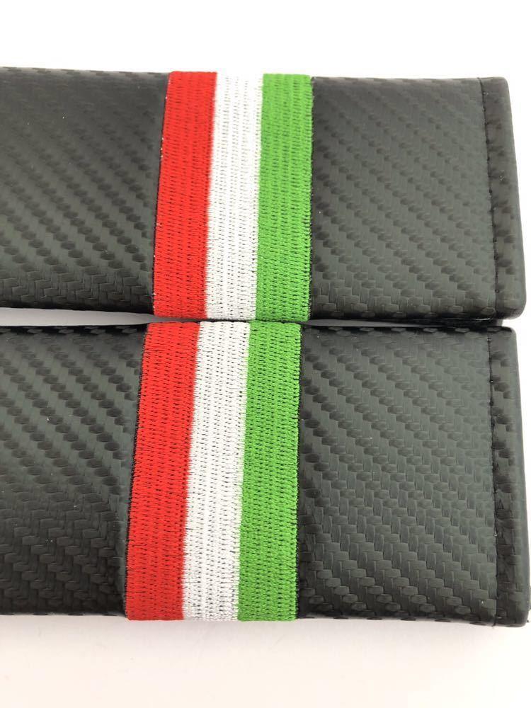 イタリア シートベルトカバー 肩パッド 国旗 4本 カーボン調 アバルト ABARTH 124 スパイダー 595C 695_画像2
