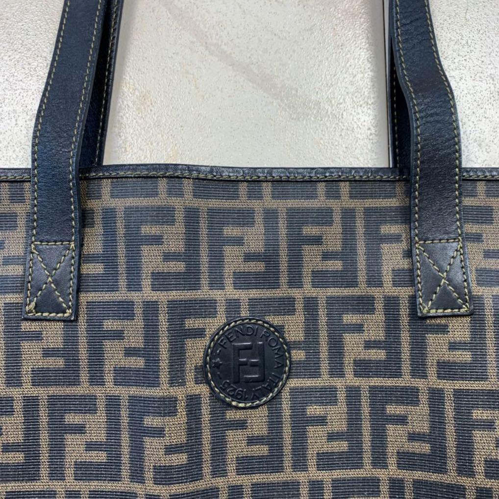フェンディ FENDI ズッカ柄 ユニセックス ショッピングトートバッグ イタリア製正規品 美品_画像2