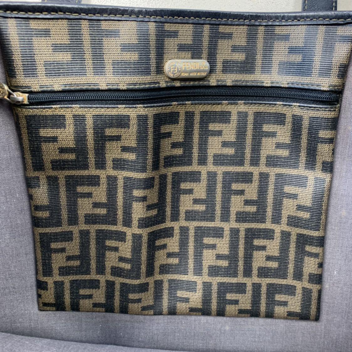 フェンディ FENDI ズッカ柄 ユニセックス ショッピングトートバッグ イタリア製正規品 美品_画像5