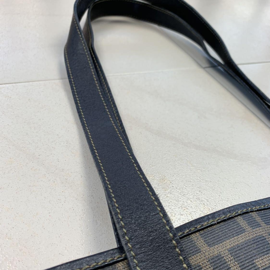 フェンディ FENDI ズッカ柄 ユニセックス ショッピングトートバッグ イタリア製正規品 美品_画像4