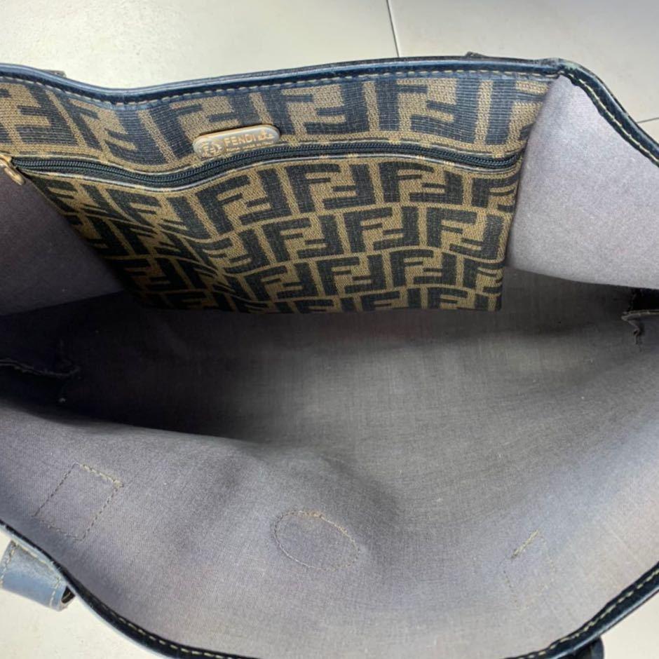 フェンディ FENDI ズッカ柄 ユニセックス ショッピングトートバッグ イタリア製正規品 美品_画像6