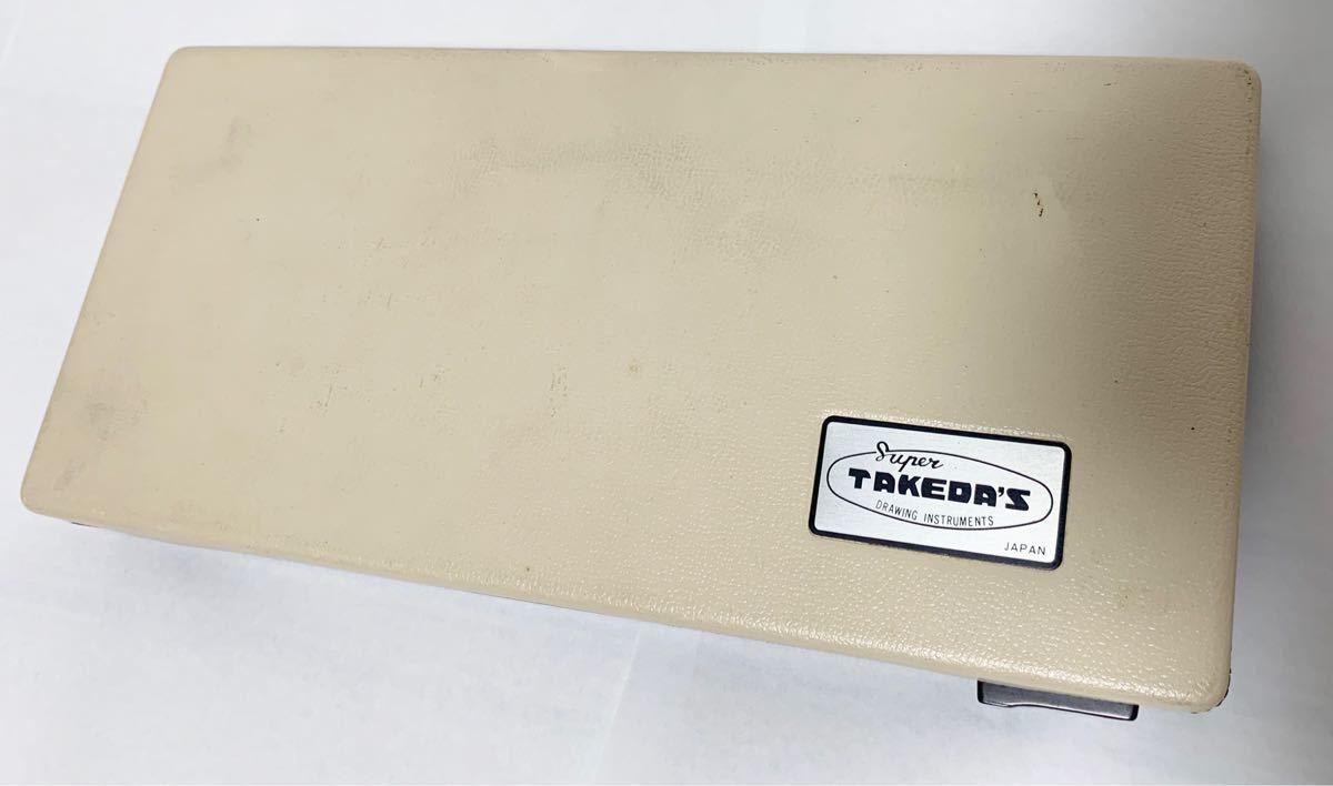 【昭和50年レトロ】タケダ製図器TAKEDA コンパス 分度器 テンプレート セット 文房具 製図用品【使用感あり】_画像3
