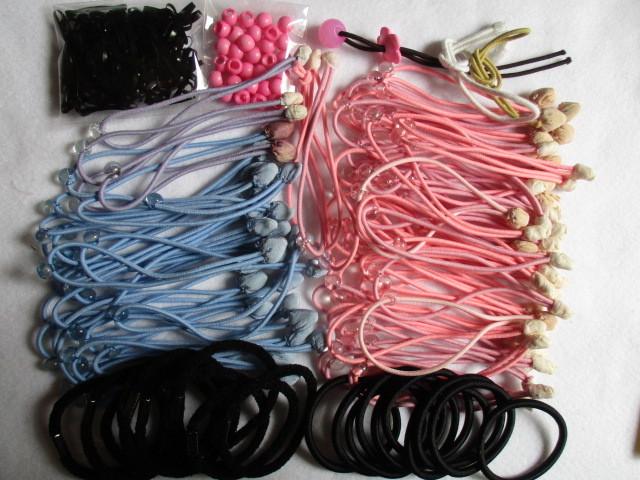 ヘアゴムいっぱい手作り材料◆黒2種各10個・ミニ黒ゴム100個&ピンクしずく玉30個&手作り材料ゴム玉つき80本