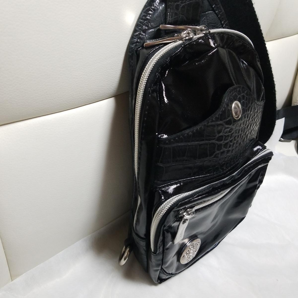 (数回利用美品)オロビアンコ Orobianco ボディーバッグ クロコ型押しブラックレザーXpv高級素材ナイロン ウエストバッグ オールブラック_画像2