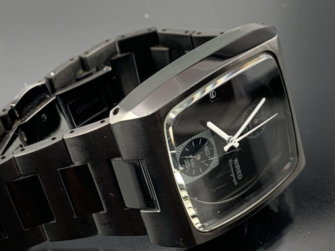1円~☆ メンズ腕時計 セイコーSEIKO ワイアード WIRED クロノグラフ ブラック 7T94-0BDO 動作品_画像4