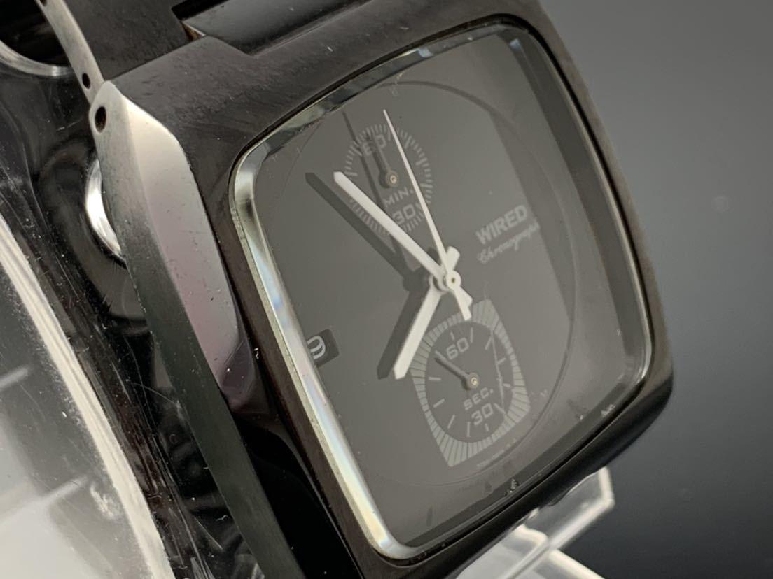 1円~☆ メンズ腕時計 セイコーSEIKO ワイアード WIRED クロノグラフ ブラック 7T94-0BDO 動作品_画像2