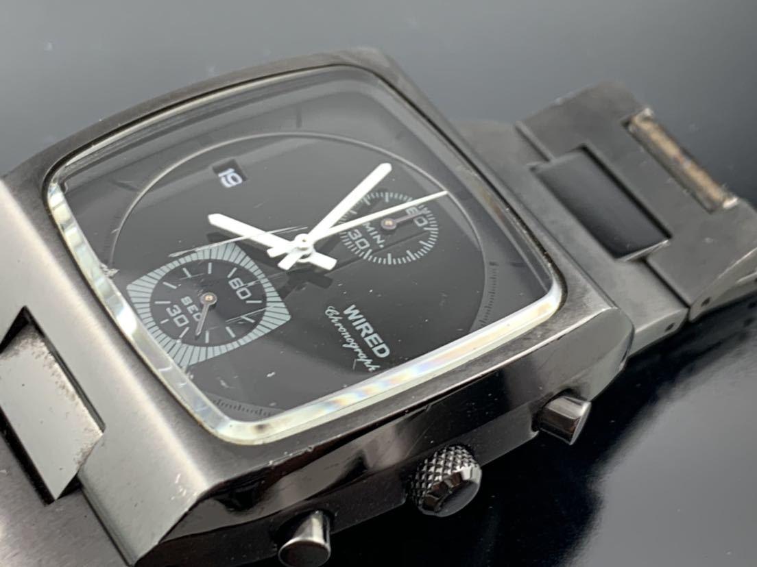 1円~☆ メンズ腕時計 セイコーSEIKO ワイアード WIRED クロノグラフ ブラック 7T94-0BDO 動作品_画像3
