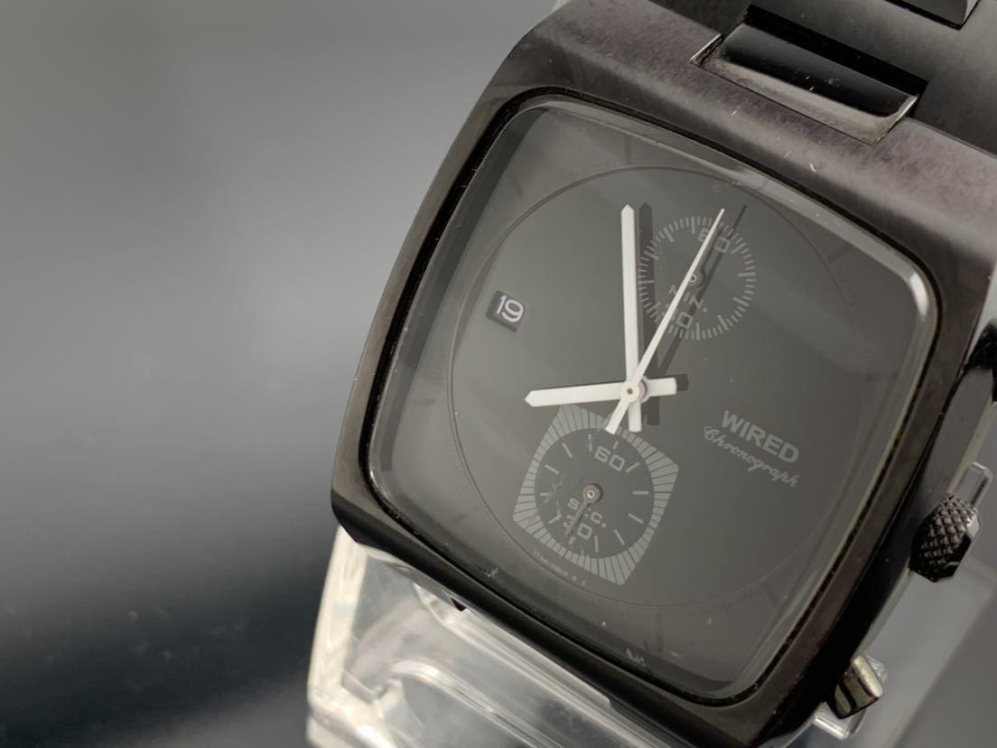 1円~☆ メンズ腕時計 セイコーSEIKO ワイアード WIRED クロノグラフ ブラック 7T94-0BDO 動作品
