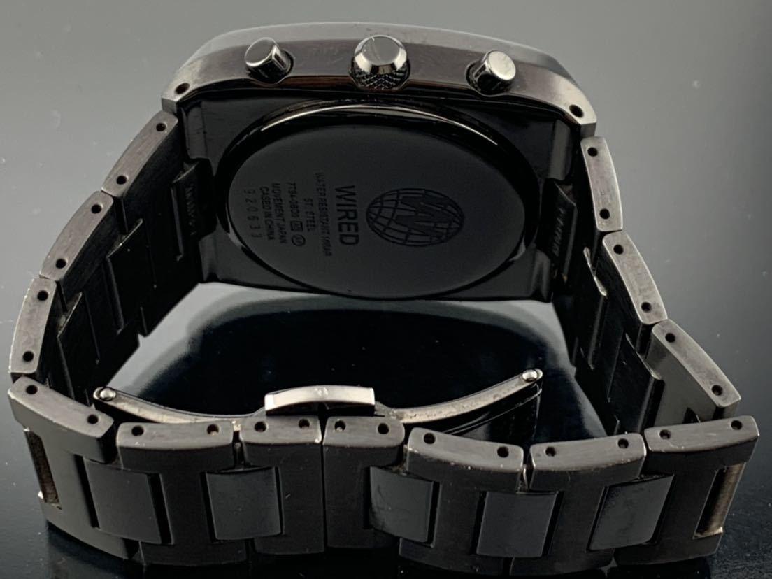 1円~☆ メンズ腕時計 セイコーSEIKO ワイアード WIRED クロノグラフ ブラック 7T94-0BDO 動作品_画像5