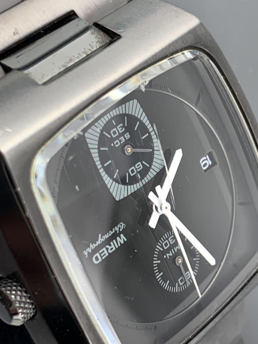 1円~☆ メンズ腕時計 セイコーSEIKO ワイアード WIRED クロノグラフ ブラック 7T94-0BDO 動作品_画像6