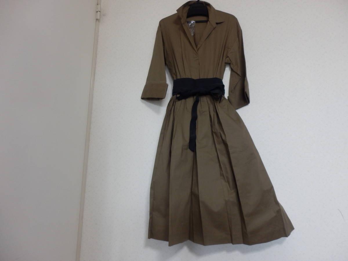 新品グランターブルスコットクラブサッシュベルト付コットン100%七分袖フレアースカートシャツワンピカー定価19990日本製
