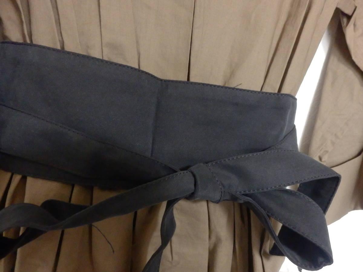 新品グランターブルスコットクラブサッシュベルト付コットン100%七分袖フレアースカートシャツワンピカー定価19990日本製_画像4