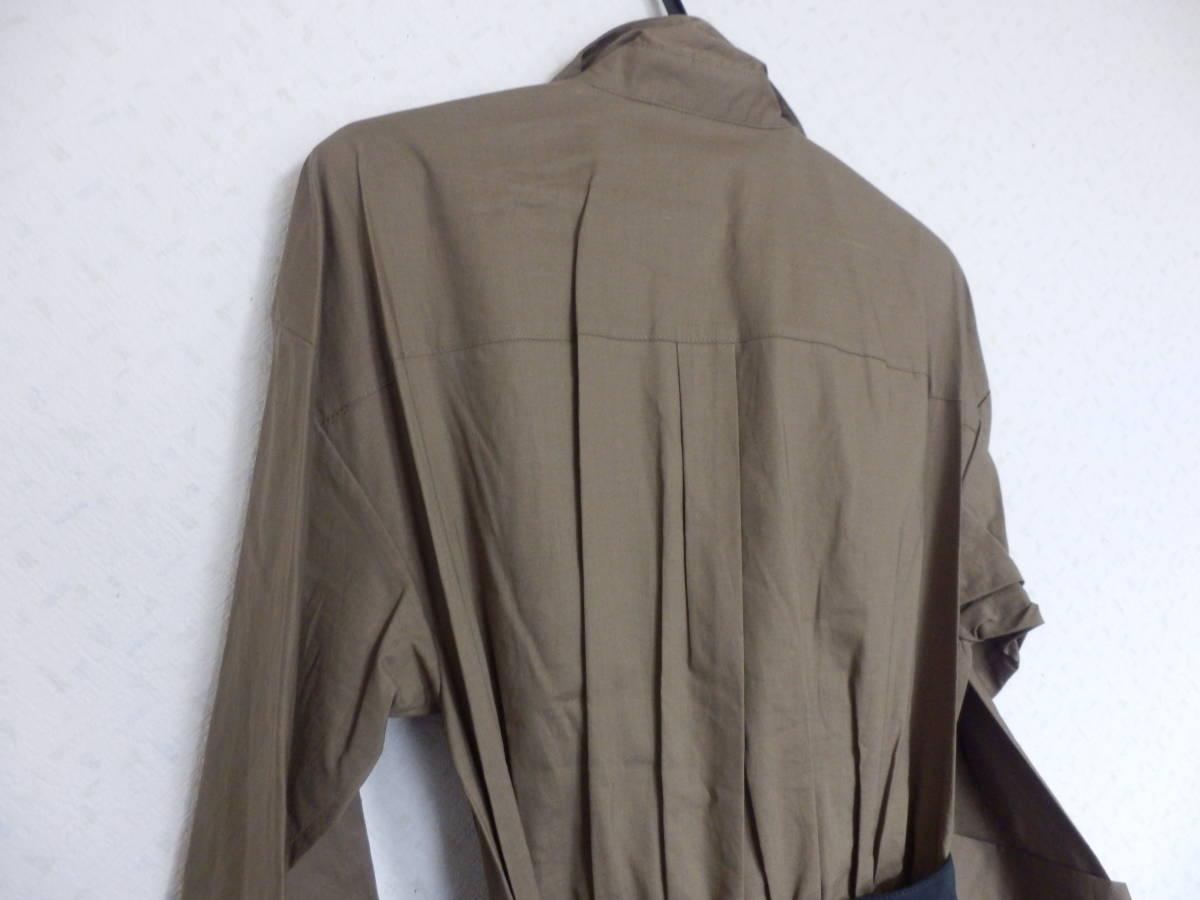 新品グランターブルスコットクラブサッシュベルト付コットン100%七分袖フレアースカートシャツワンピカー定価19990日本製_画像7