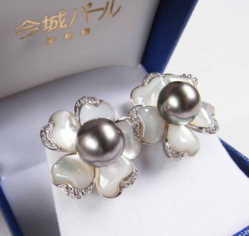 ★黒真珠(ブラックパール)・銀製(Silver)★ 宇和島・今城パール・イヤリング★ 新品★白蝶貝★_画像2