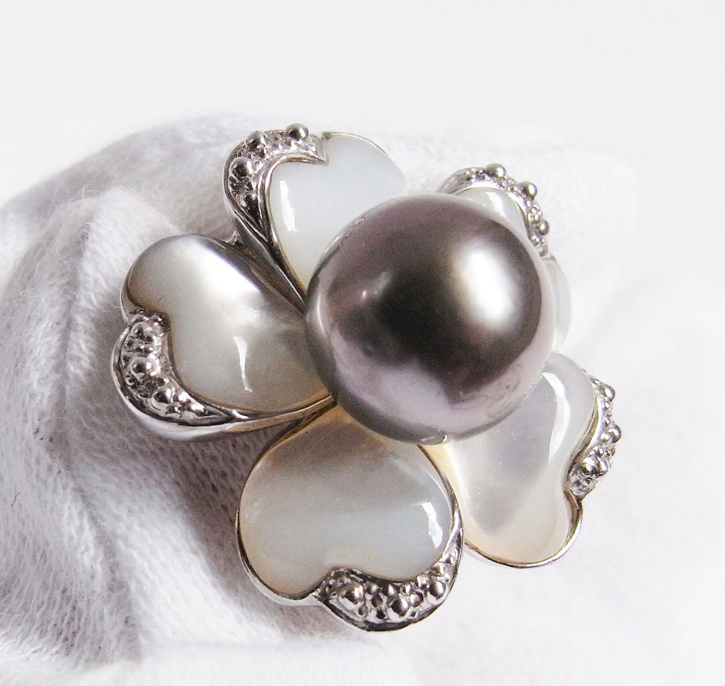 ★黒真珠(ブラックパール)・銀製(Silver)★ 宇和島・今城パール・イヤリング★ 新品★白蝶貝★_画像5