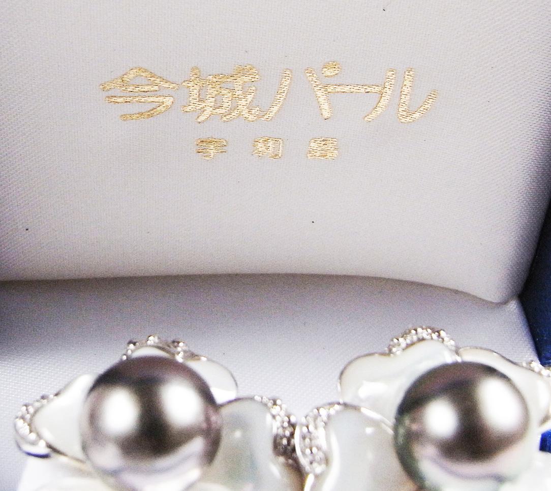 ★黒真珠(ブラックパール)・銀製(Silver)★ 宇和島・今城パール・イヤリング★ 新品★白蝶貝★_画像9