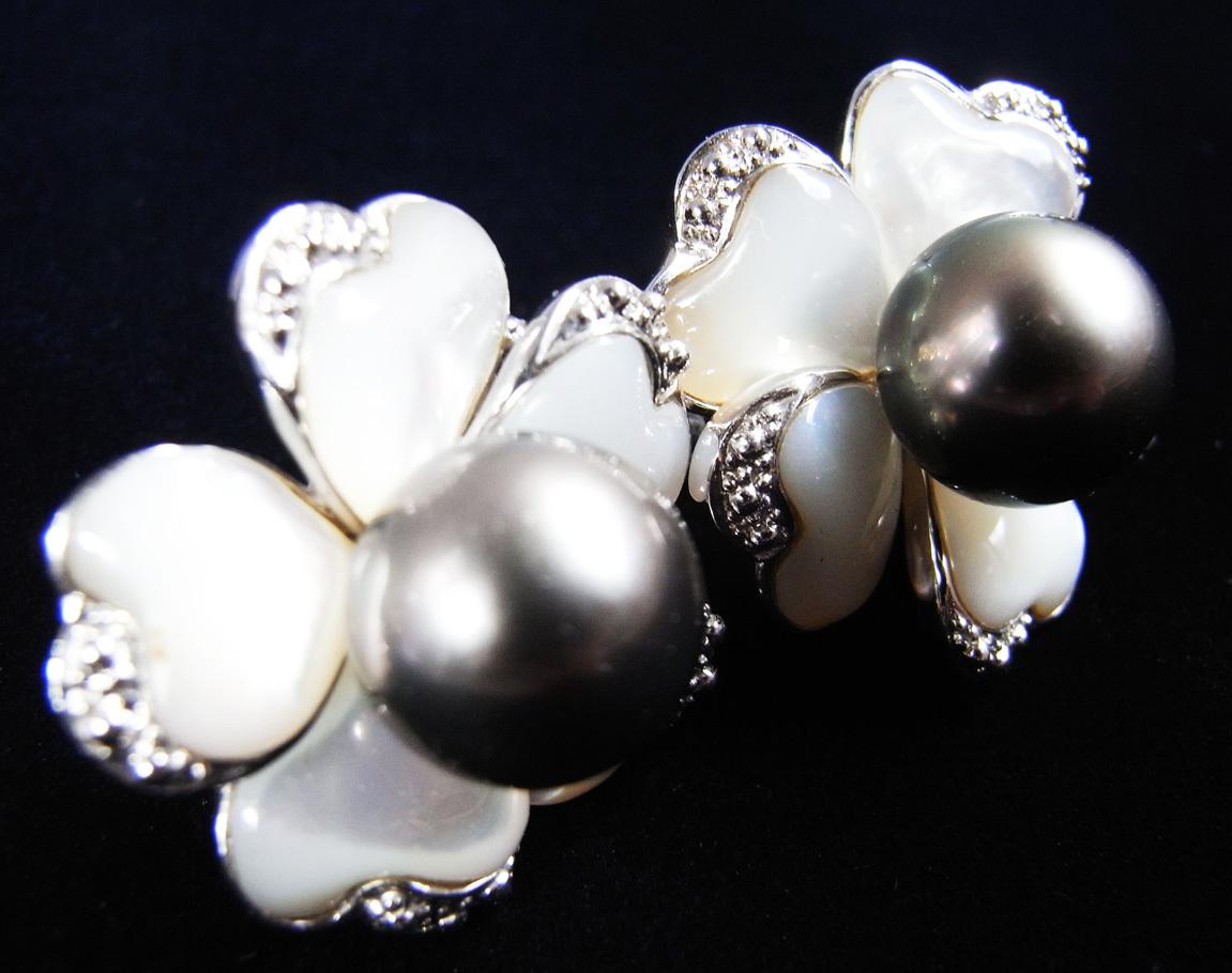★黒真珠(ブラックパール)・銀製(Silver)★ 宇和島・今城パール・イヤリング★ 新品★白蝶貝★_画像4