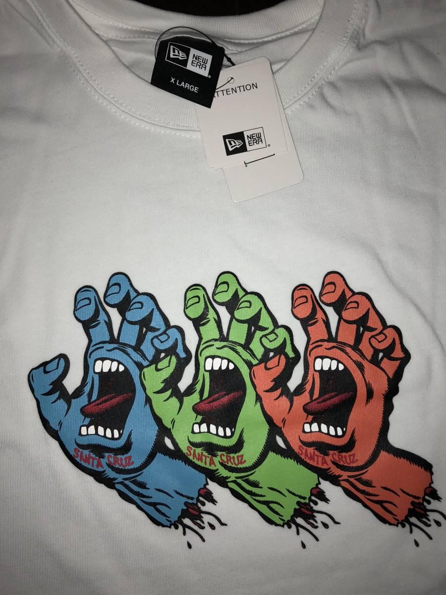 レア 新品未使用 NEW ERA ニューエラ サンタクルーズ コラボ Tシャツ XLサイズ スクリーミングハンド 白 パウエル スケート