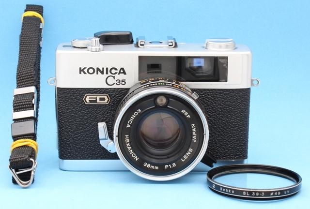 Konica C35 FD Hexanon 38mm 1:1.8 シャッター・露出計作動確認済み ジャンクで コニカ