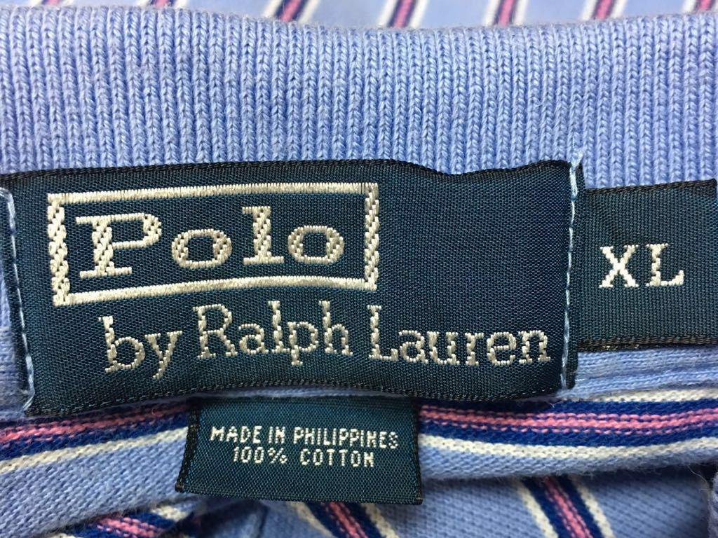 〈Polo by Ralph Lauren〉ポロ ラルフローレン◆* メンズ size XL / ボーダー 半袖 ポロシャツ 鹿の子シャツ トップス // USA古着 USED_画像6