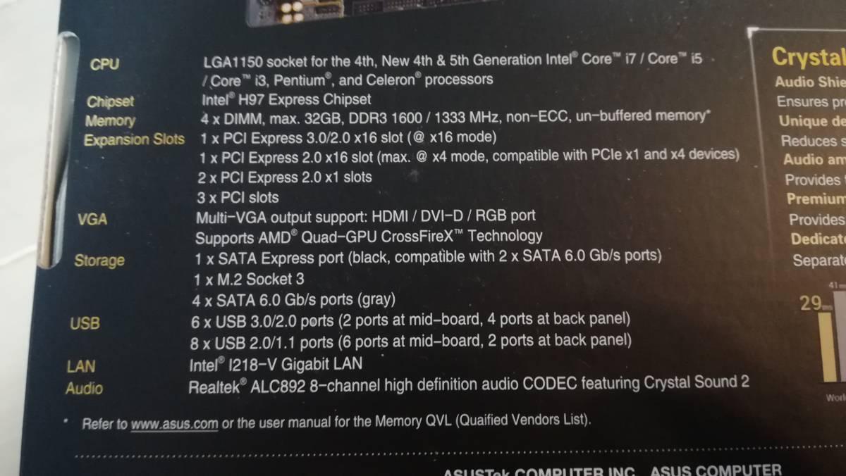 ASUS マザーボード H97 CPU メモリ 付き 実働品_画像5