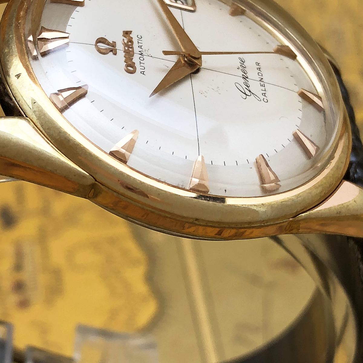 ★美品!! OMEGA オメガ 1950s アンティーク cal.503 メンズ 腕時計 パイパン GP ゴールド 金 カレンダー 12角 自動巻 ビンテージ 高級_画像6