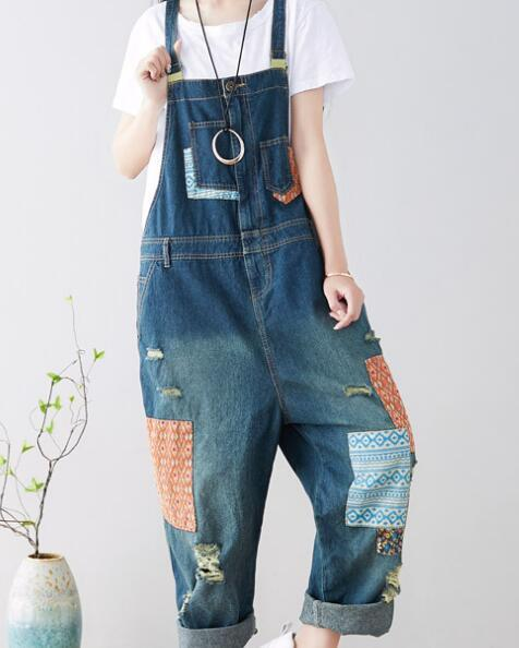 new goods pretty lady's overall * hip-hop Denim overall * damage blue