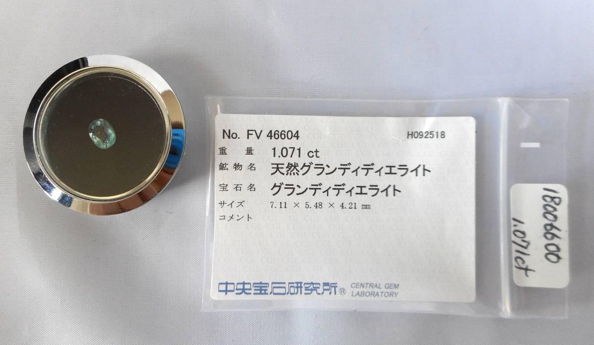 新品 天然グランディディエライト 1.071ct 超希少石 レアストーン 極上級品 マダガスカル産 大きめ石 幻の一石_画像9