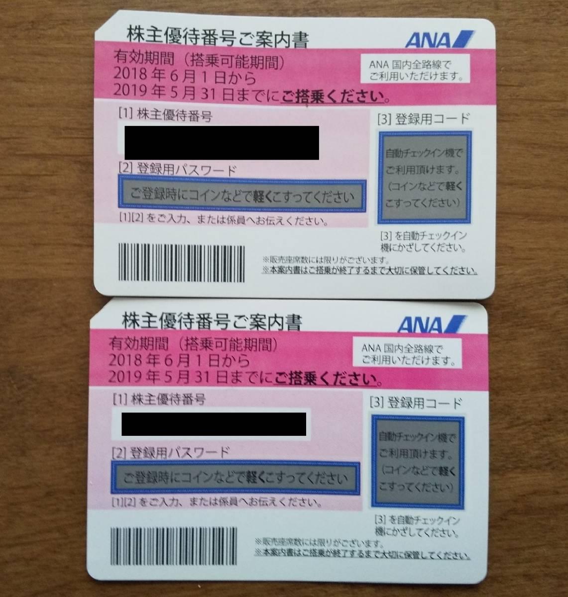 ★送料無料★ ANA株主優待券 2枚 2019年5月31日まで 番号通知にも対応!
