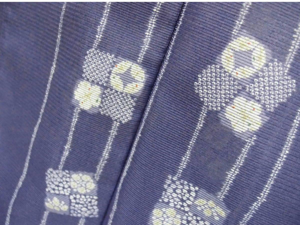 送料無料 夏 薄物 絽 洗える着物 身丈163cm裄66.5cm りんどう色 手縫いミシン縫い併用 縦縞四角文様 小紋 美品 7月8月 追加画像_画像8