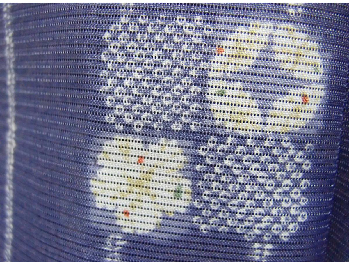 送料無料 夏 薄物 絽 洗える着物 身丈163cm裄66.5cm りんどう色 手縫いミシン縫い併用 縦縞四角文様 小紋 美品 7月8月 追加画像_画像9