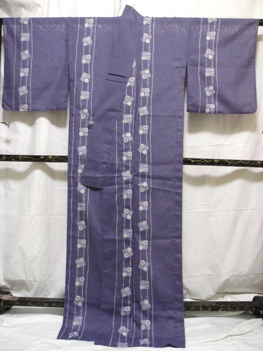 送料無料 夏 薄物 絽 洗える着物 身丈163cm裄66.5cm りんどう色 手縫いミシン縫い併用 縦縞四角文様 小紋 美品 7月8月 追加画像_画像6