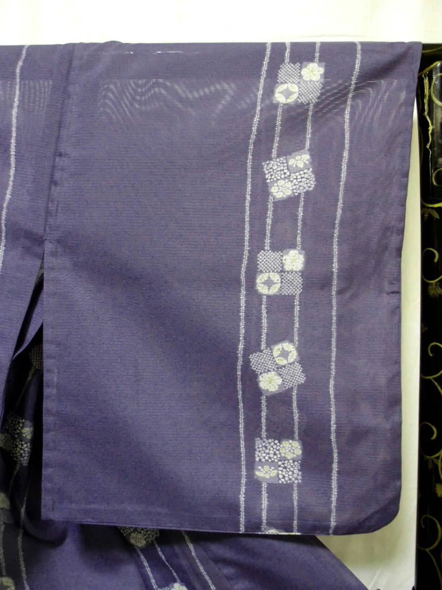 送料無料 夏 薄物 絽 洗える着物 身丈163cm裄66.5cm りんどう色 手縫いミシン縫い併用 縦縞四角文様 小紋 美品 7月8月 追加画像_画像3