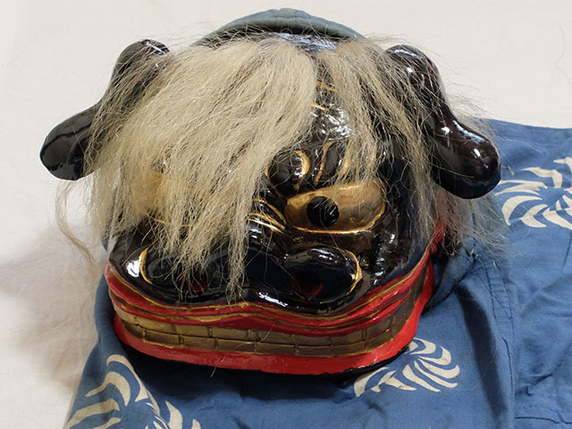 木彫り 獅子舞 獅子頭 銅幕 中古_画像2