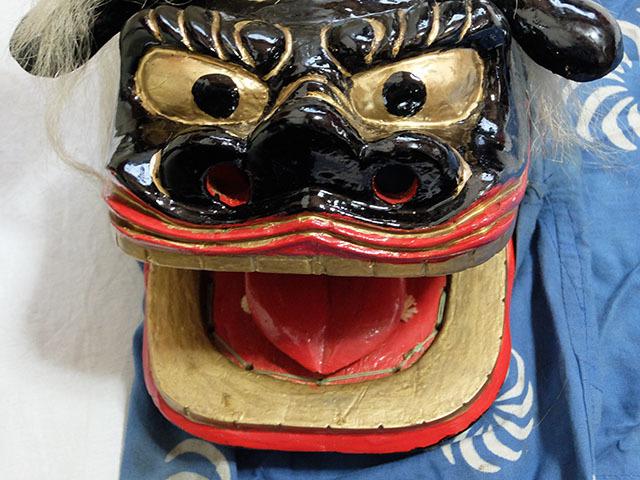 木彫り 獅子舞 獅子頭 銅幕 中古_画像3