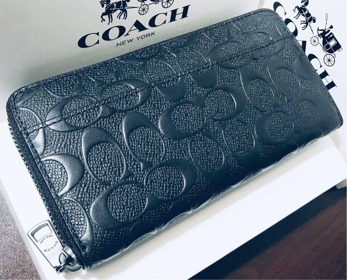 7c0f4a1000dc コーチ 長財布 新品正規品 COACH 財布□黒 ブラック 人気 シグネチャー柄 メンズ
