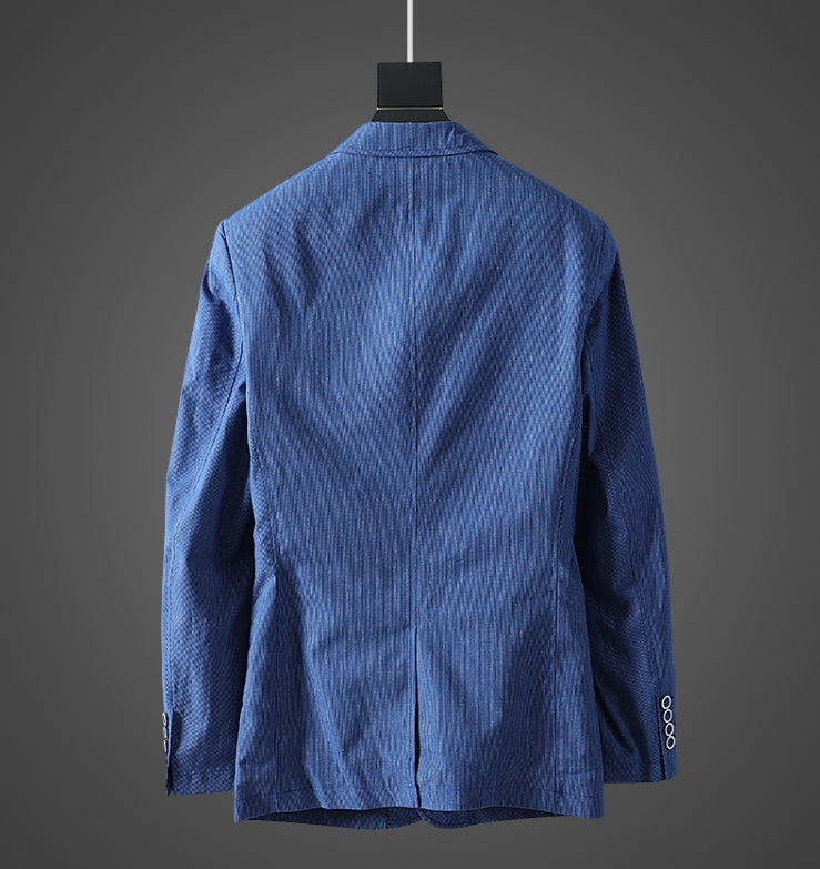 高品質★春夏新品 リネン& 綿 ストライプ 紳士服 メンズ 上着 ジャケット XL_画像2