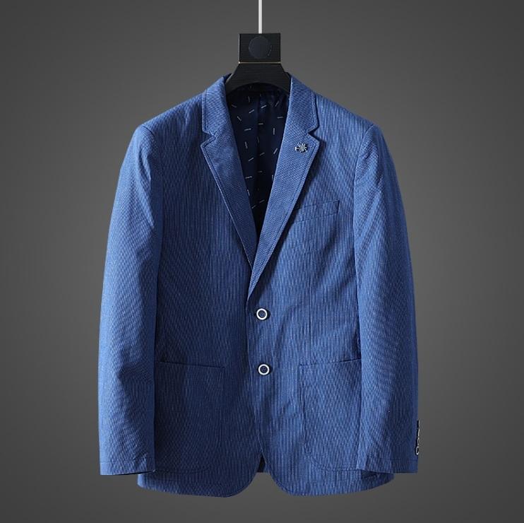 高品質★春夏新品 リネン& 綿 ストライプ 紳士服 メンズ 上着 ジャケット XL