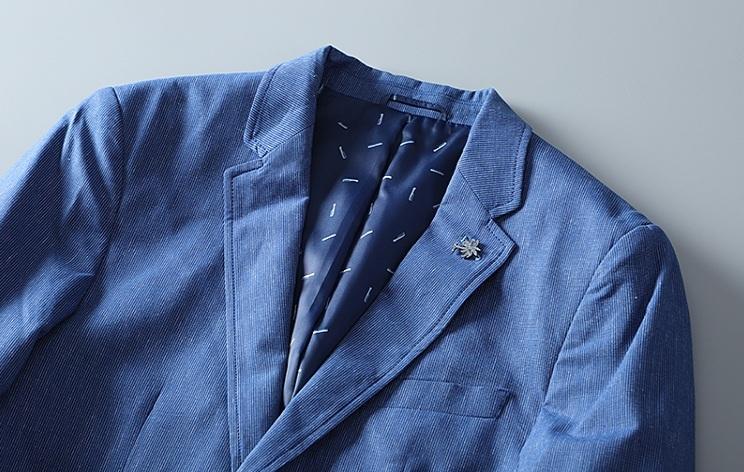 高品質★春夏新品 リネン& 綿 ストライプ 紳士服 メンズ 上着 ジャケット XL_画像6