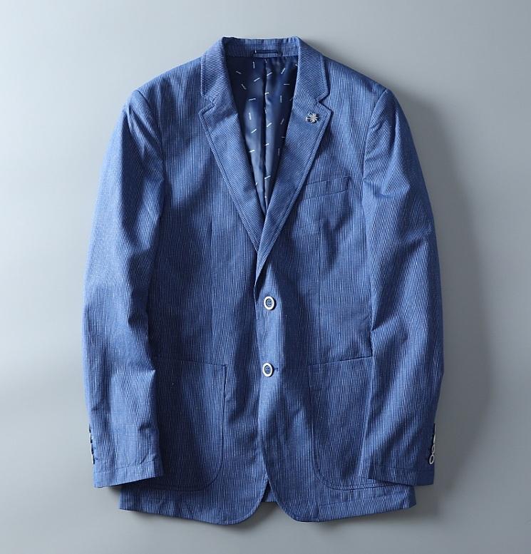 高品質★春夏新品 リネン& 綿 ストライプ 紳士服 メンズ 上着 ジャケット XL_画像3