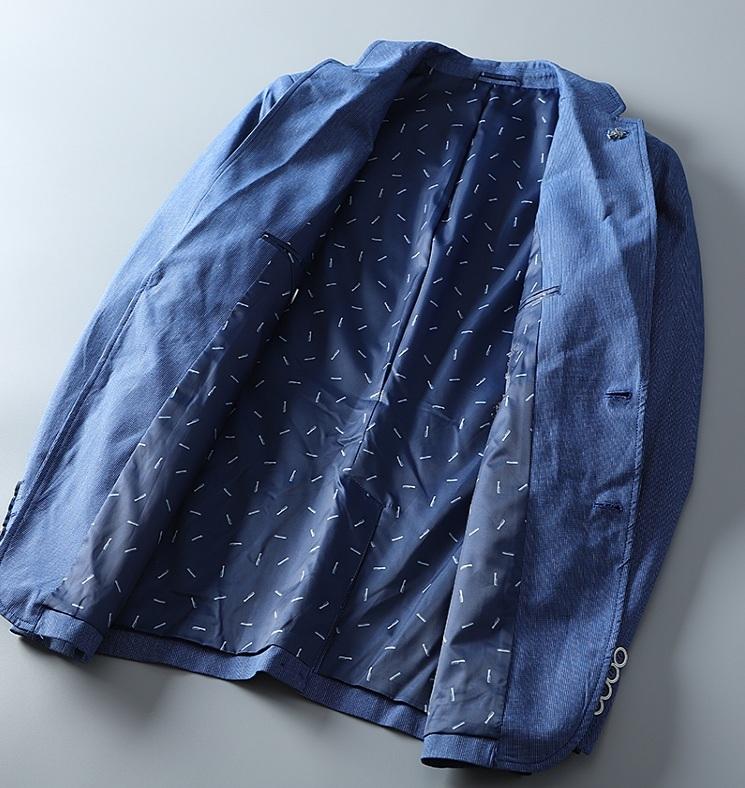 高品質★春夏新品 リネン& 綿 ストライプ 紳士服 メンズ 上着 ジャケット XL_画像4
