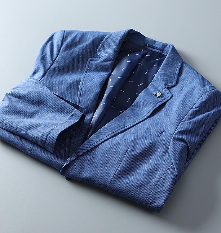 高品質★春夏新品 リネン& 綿 ストライプ 紳士服 メンズ 上着 ジャケット XL_画像10