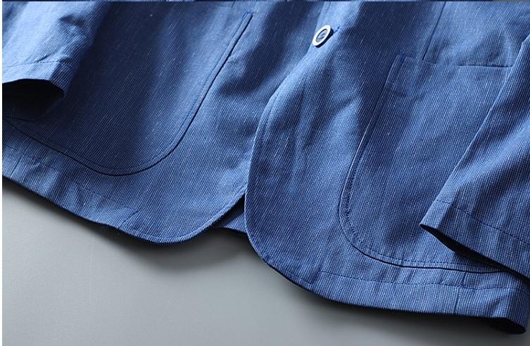 高品質★春夏新品 リネン& 綿 ストライプ 紳士服 メンズ 上着 ジャケット XL_画像9