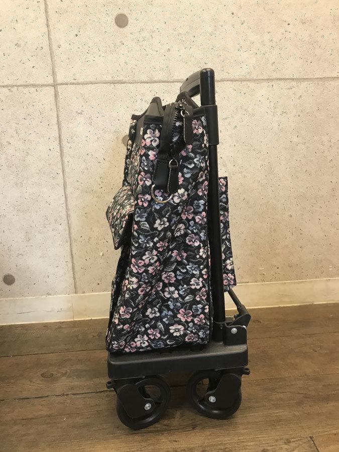 【送料無料】ショッピングカート 島製作所 メロディスムーズST 小花柄ブラック 美品 取説付 買い物補助 A514-1_画像5