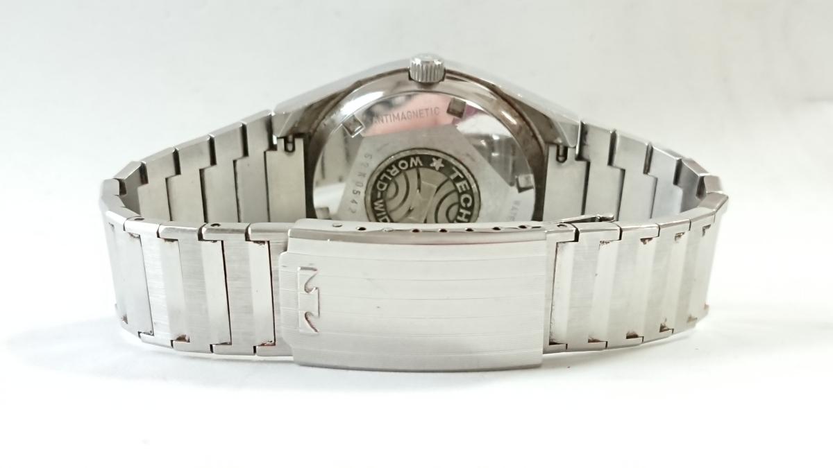 9552☆1円スタート!TECHNOS テクノス WORLD WIDE メンズ腕時計 自動巻 青文字盤 純正ブレス _画像4