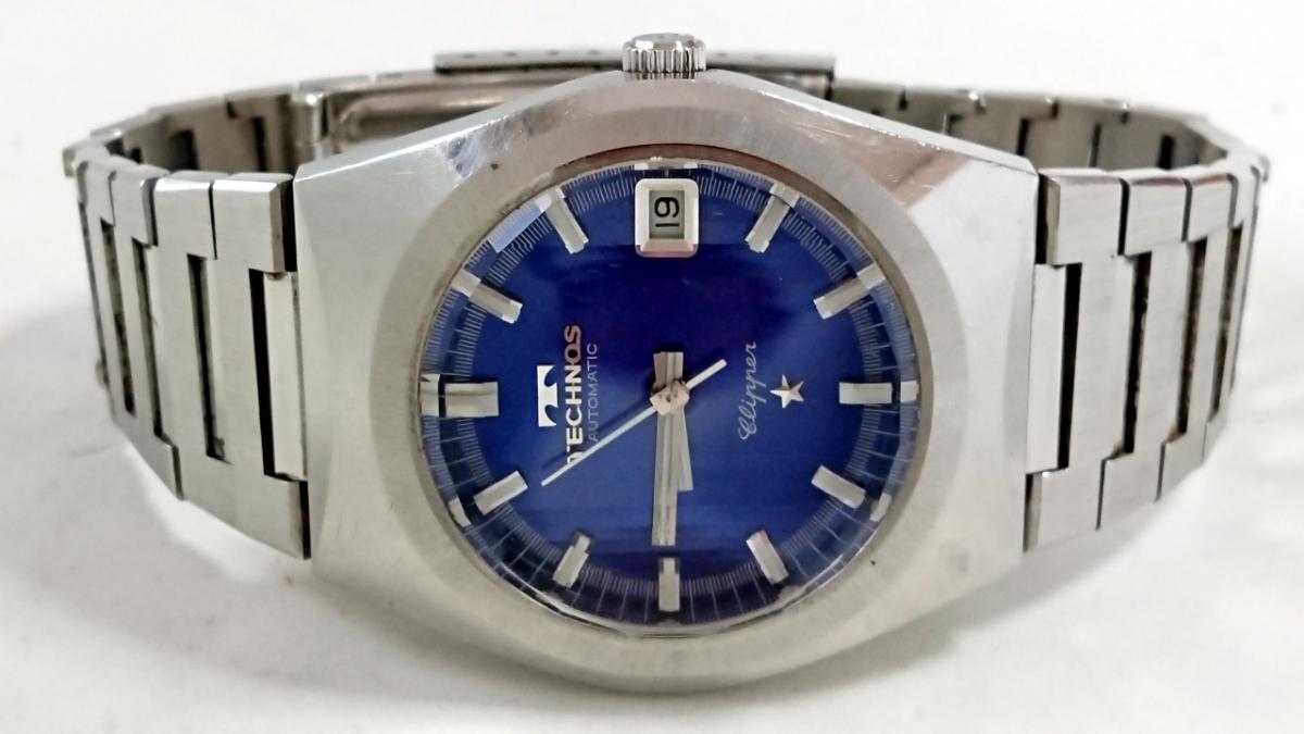 9552☆1円スタート!TECHNOS テクノス WORLD WIDE メンズ腕時計 自動巻 青文字盤 純正ブレス _画像5