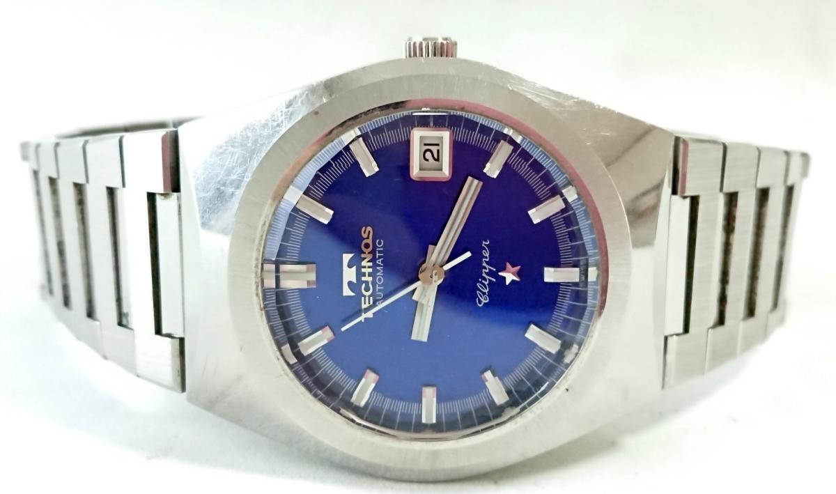 9552☆1円スタート!TECHNOS テクノス WORLD WIDE メンズ腕時計 自動巻 青文字盤 純正ブレス _画像3