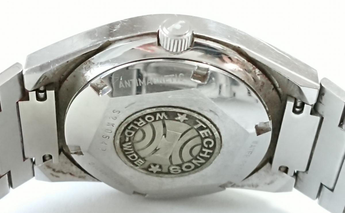9552☆1円スタート!TECHNOS テクノス WORLD WIDE メンズ腕時計 自動巻 青文字盤 純正ブレス _画像2