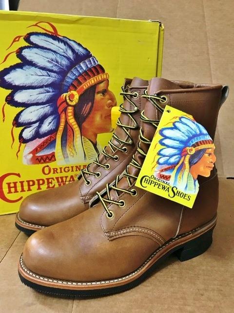 新品 チペワ 黒タグ オイルレザー ブーツ インディアン ネイティブ ワークブーツ アメリカ製 USA製 エンジニアブーツ レザーシューズ 革靴