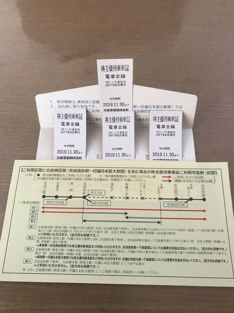 京成電鉄 株主優待乗車券 4枚セット 有効期限2019.11.30